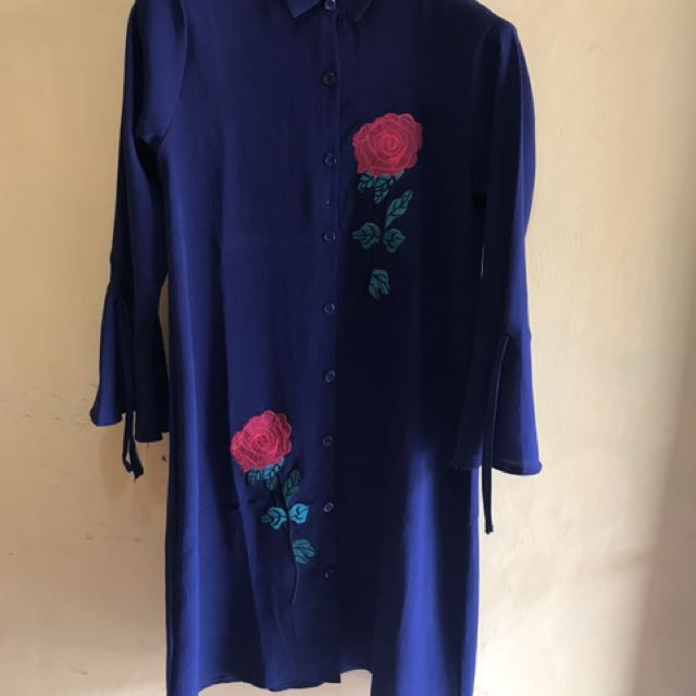 Navy blue embroidery tunik