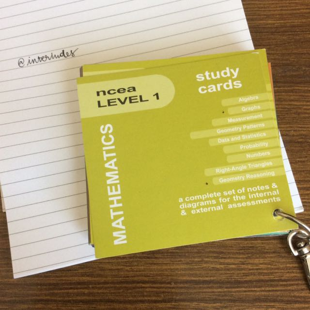NCEA L1 Maths Study Cards
