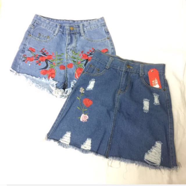 New! Embroidered Skirt & Shorts