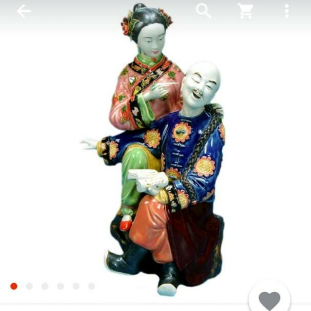 Oriental Chinese couple porcelain