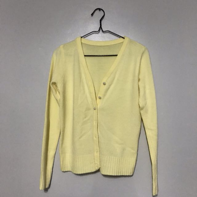 pastel yellow cardigan