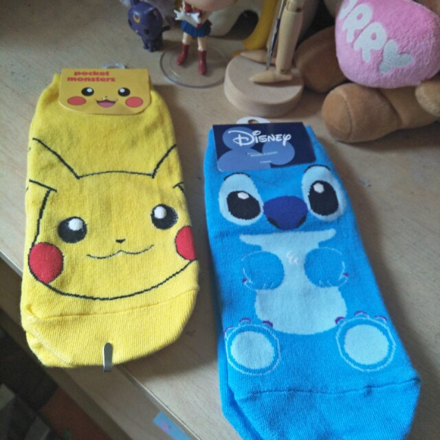 Pikachu and Stitch Socks.