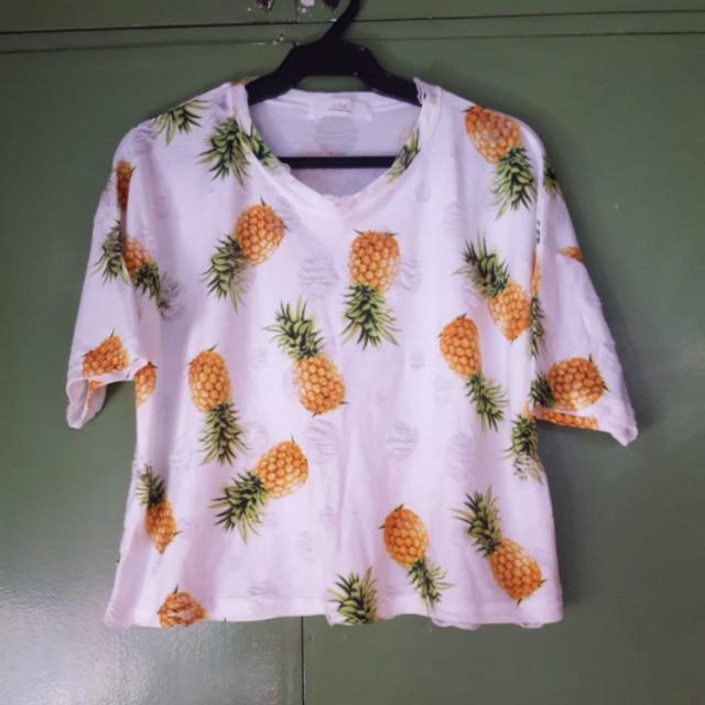 Pineapple print semi crop top