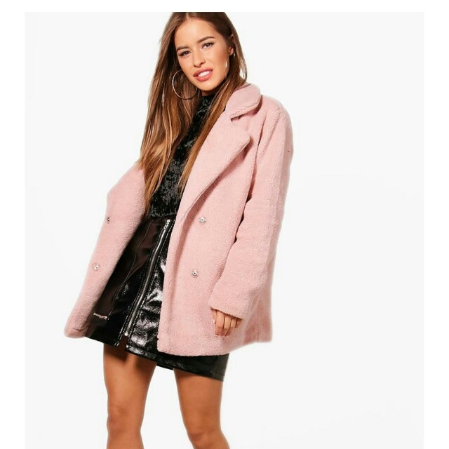 PINK DOUBLE BREASTED TEDDY COAT