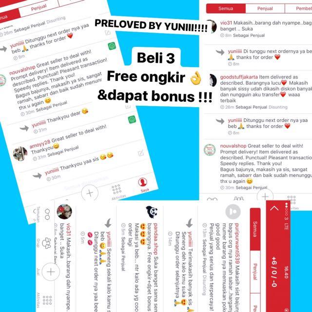 PRELOVED BY YUNI!!!! BELI 3 FREE ONGKIR & DAPAT BONUS!!!!
