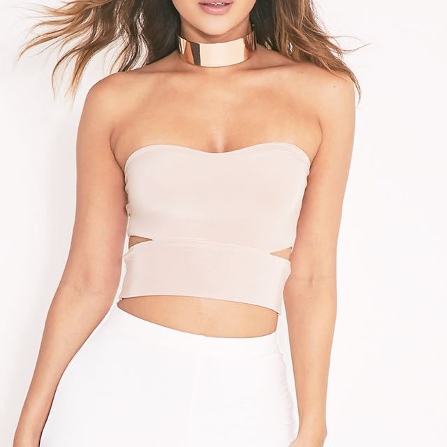 Pretty Little Thing Bandeau Top with Cutout in White Size 4