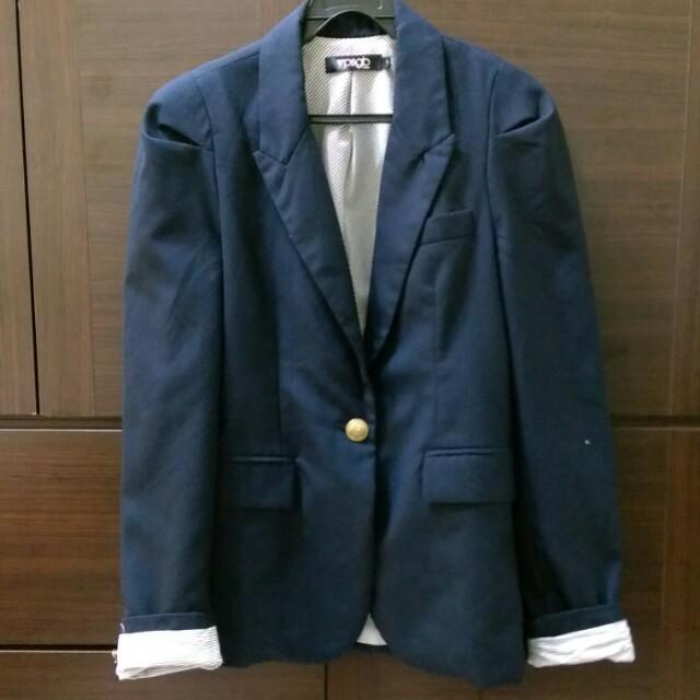 [上班族二手拍賣]psgb韓版深藍海軍風西裝外套M