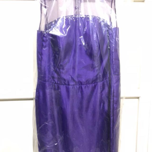 Purple cocktail pencil-cut Gown