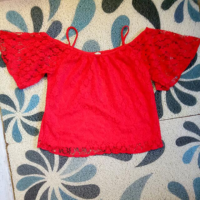 Red Sabrina Lace Top