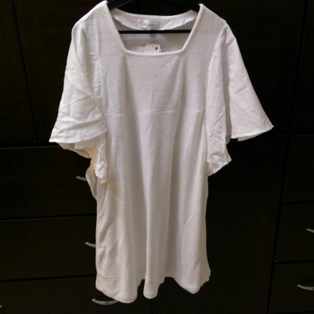 [上班族特賣]re:luxe全新附吊牌毛巾布舒適白居家上衣
