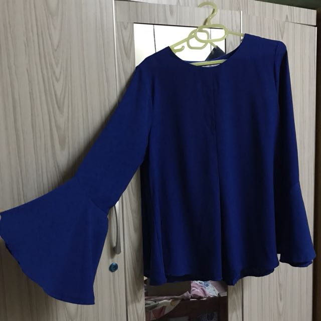 b7af464dd72290 Royal Blue Blouse, Women's Fashion, Clothes, Tops on Carousell