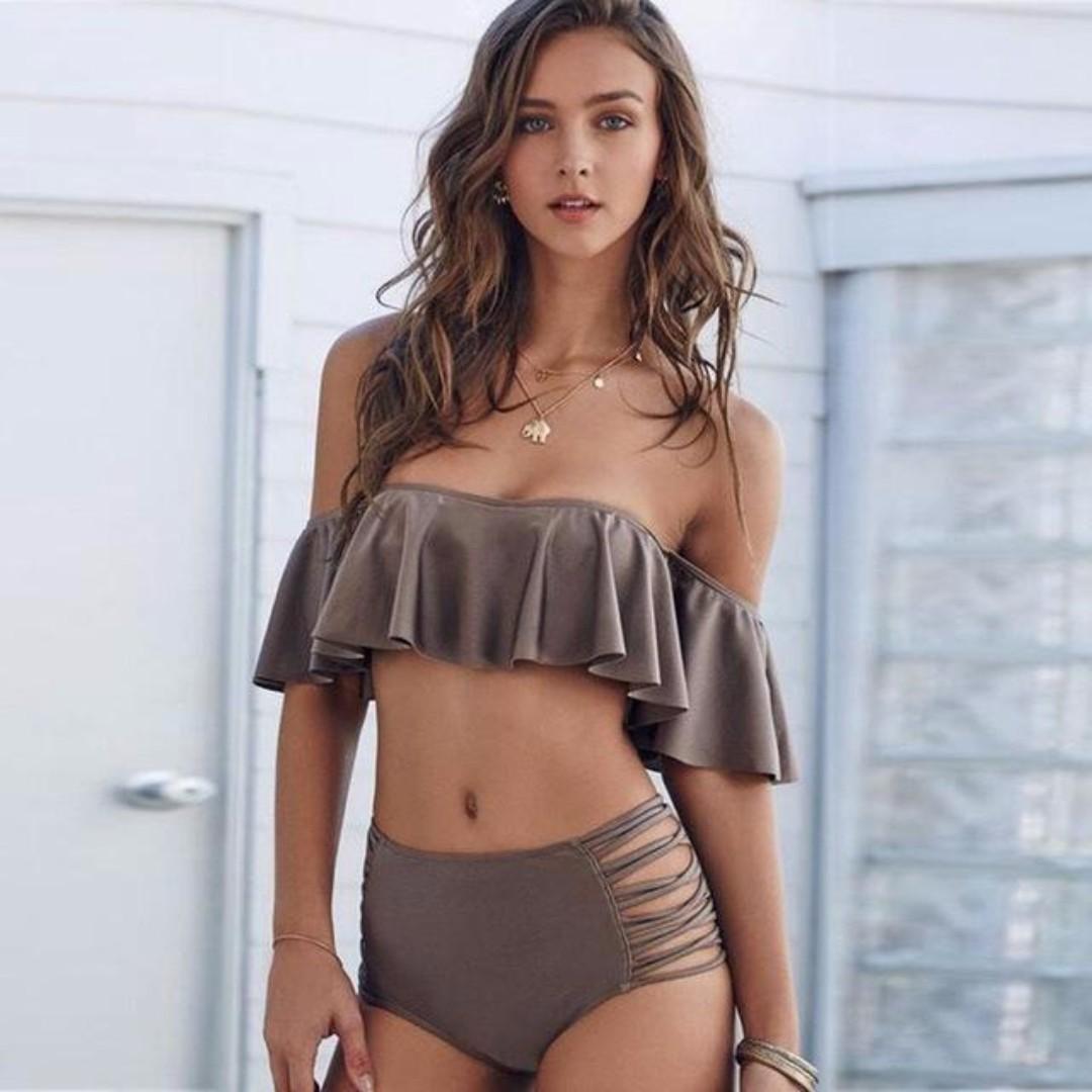 Ruffle bandeau off shoulder bikini set