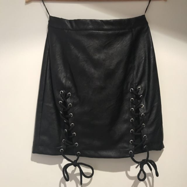 RUNAWAY Lace Up Skirt - Size 8