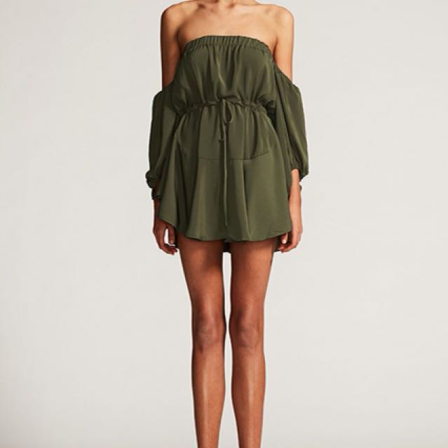 542543bb982e Shona Joy Leticia Off Shoulder Mini Dress Khaki