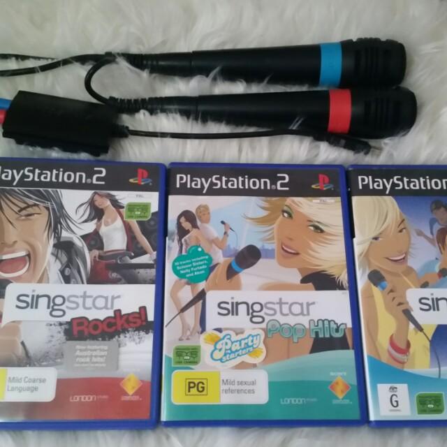 Singstar Microphones 3 games Bundle Sony PS2 Playstation 2 Karaoke Pop Hits Rock