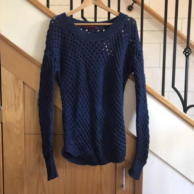 Tigerlily navy cotton knit jumper sz8-10
