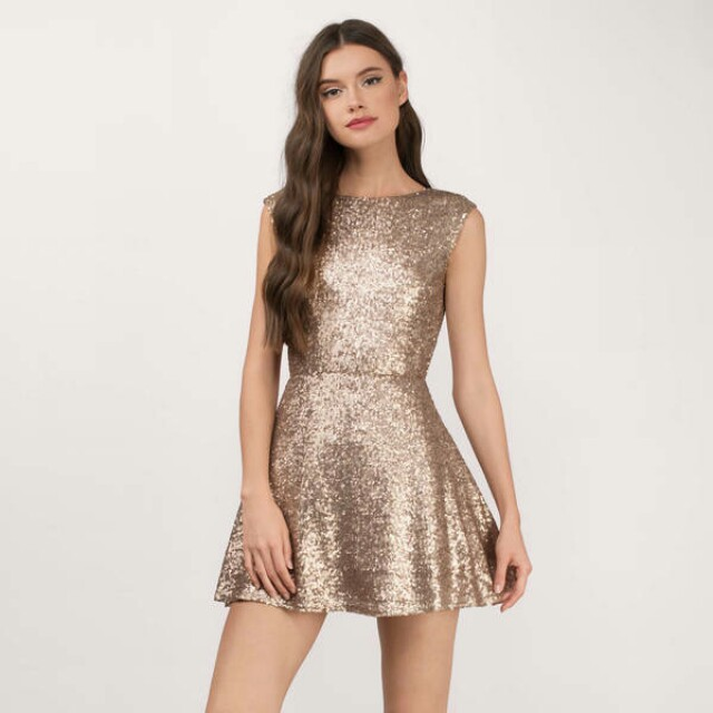 TOBI Matte Gold Skater Dress