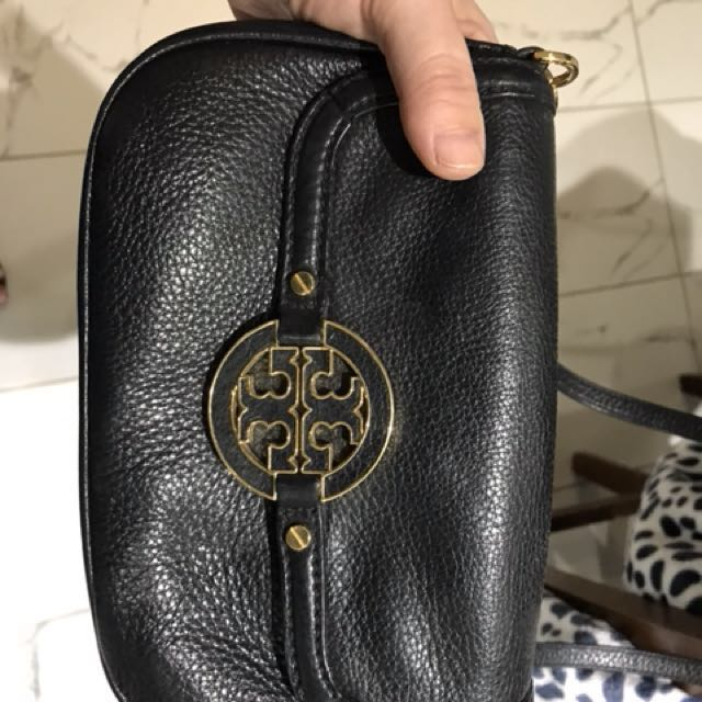 Tory Burch black pebbled leather crossbody