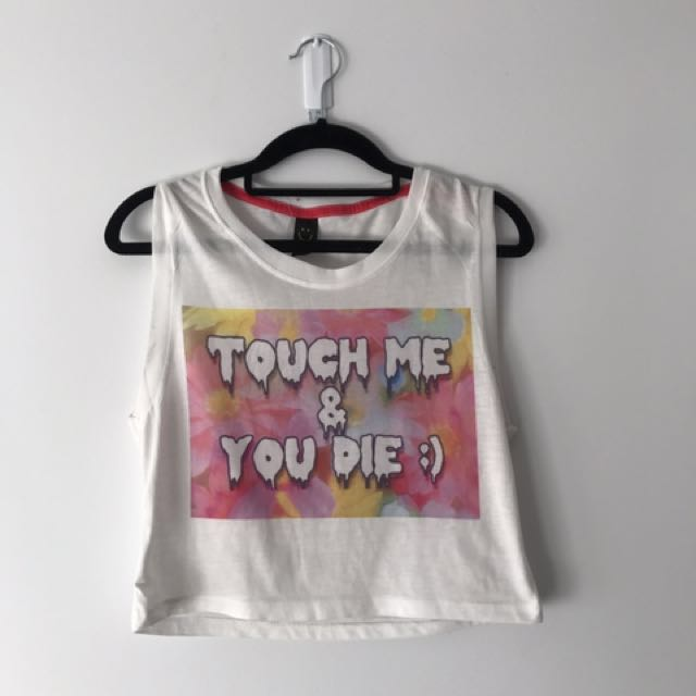 'Touch Me And You Die' Pastel Goth Crop