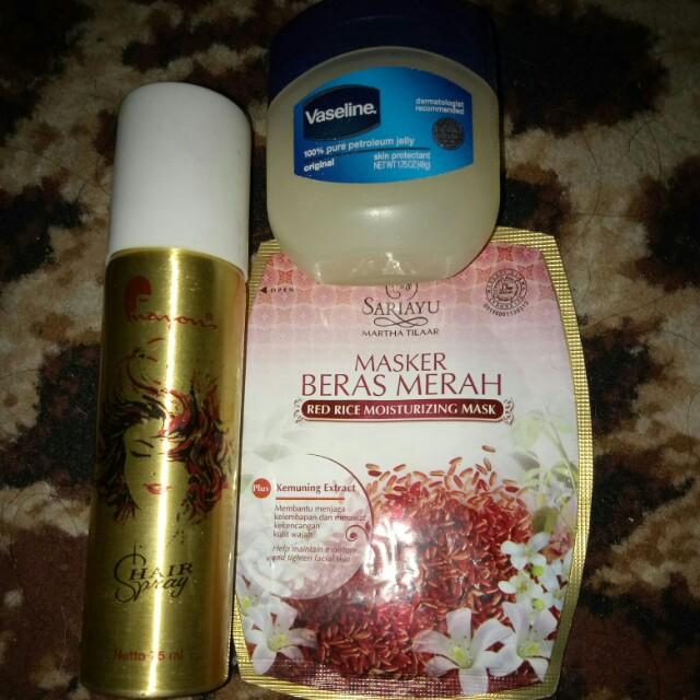 Vaseline skin protectant + Hair spray + Masker beras merah sariayu