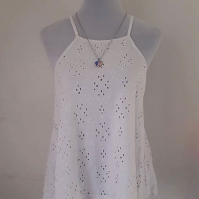 White Laced Eyelet Top