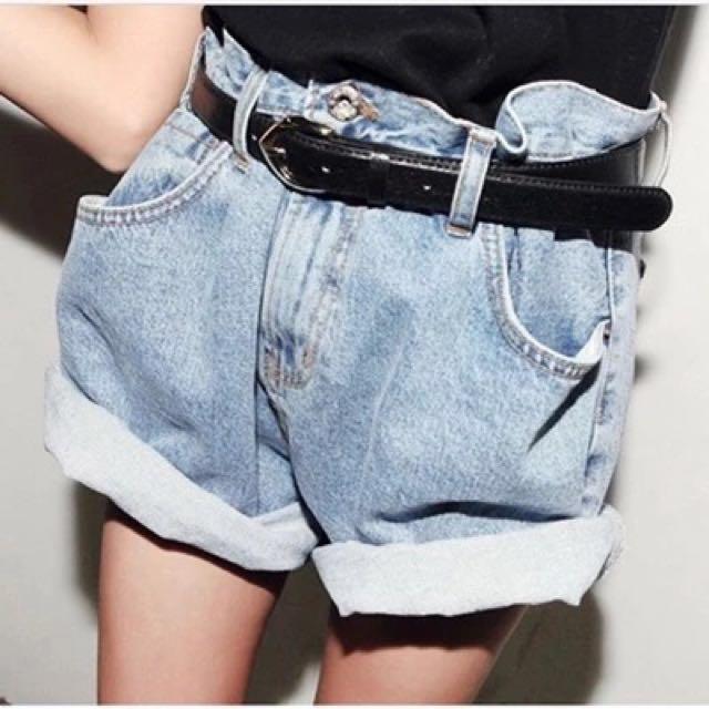 韓版捲邊牛仔短褲XL