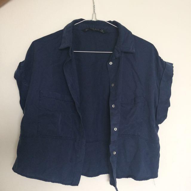 Zara blue cropped shirt