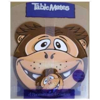 Cute Animal Shaped Table Mat c/w 4 Placemat & 4 Coaster Monkey (New)