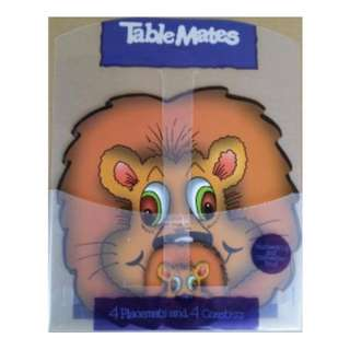 Cute Animal Shaped Table Mat c/w 4 Placemat & 4 Coaster Lion (New)
