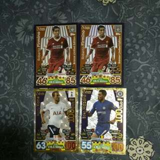 Match Attax Firmino Limited Edition and 100 clubs