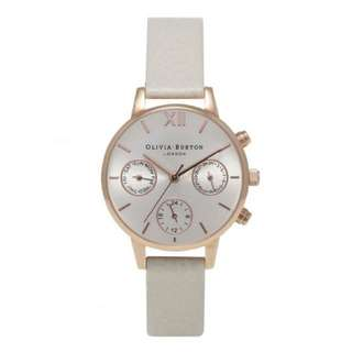 OLIVIA BURTON MIDI CHRONO DETAIL MINK AND ROSE GOLD WATCH