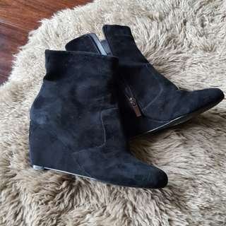 Suede ankle wedge boot