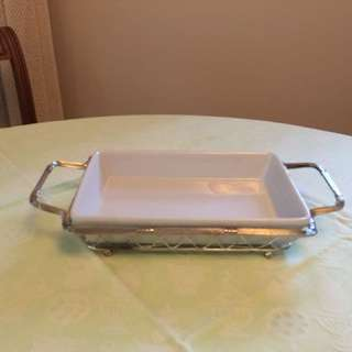 Vintage (1980's) Silver Plated Wire Basket w/Ceramic Liner