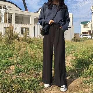 全新黑色西裝料寬褲