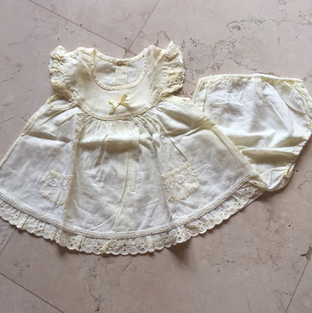 0-3M 2pcs Ralph Lauren Pale Yellow Dress