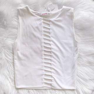 🎁 Caged Front White Crop