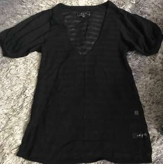 M&Co - Black Sheer Shirt -Small