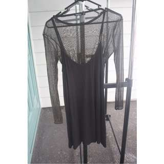 Slip dress with Mesh top