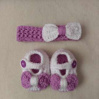 [$9.90]Baby Headband and Shoe set - Betty in lilac