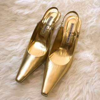 Luciano Barachini gold leather pointed toe sz35