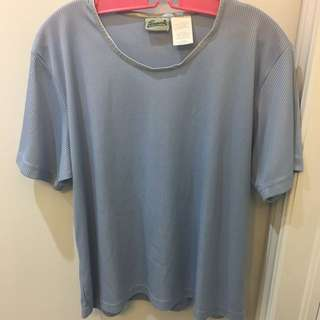 Light Blue Ribbed Top