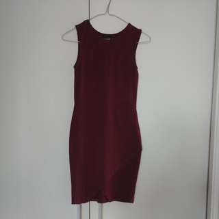 Asos Petite Bodycon Asymmetric Dress in Maroon