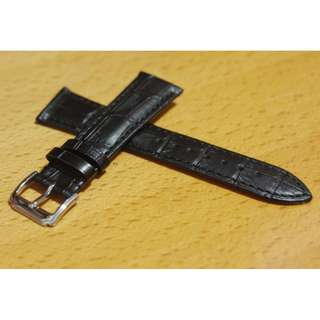 黑色壓紋真皮錶帶 (Black Genuine Leather Watch Strap for Seiko Rolex Tudor Omega IWC)