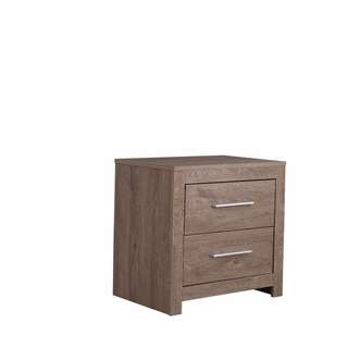 Natural finished 2 drawer bedside table