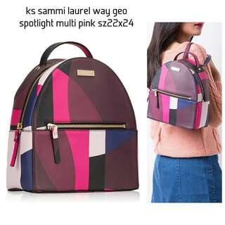 Kate Spade Sammi Laurel Way Backpack in Geo Spotlight Pink Multi