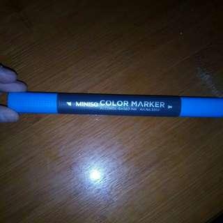 Miniso Color Marker Blue 雙頭筆全新