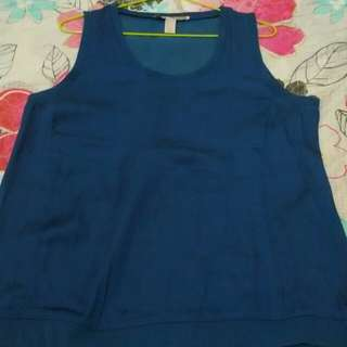 forever 21 satin blue top