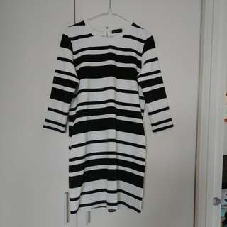 Seed 3/4 sleeve striped dress knee length L