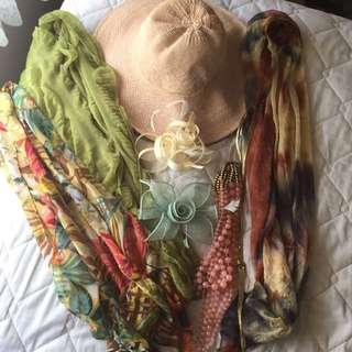 Various Ladies Accessories - Hat, Fascinator, Scarves, Necklace