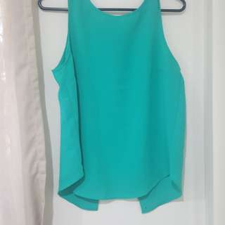 Emerald green open back shirt
